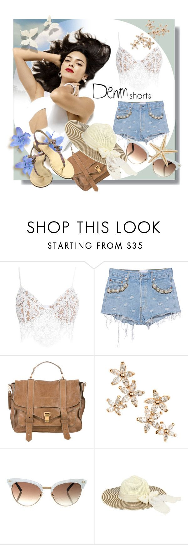 """Denim Shorts"" by kari-c ❤ liked on Polyvore featuring For Love & Lemons, Forte Couture, Proenza Schouler, Bonheur, Gucci, Chanel, jeanshorts, denimshorts and cutoffs"