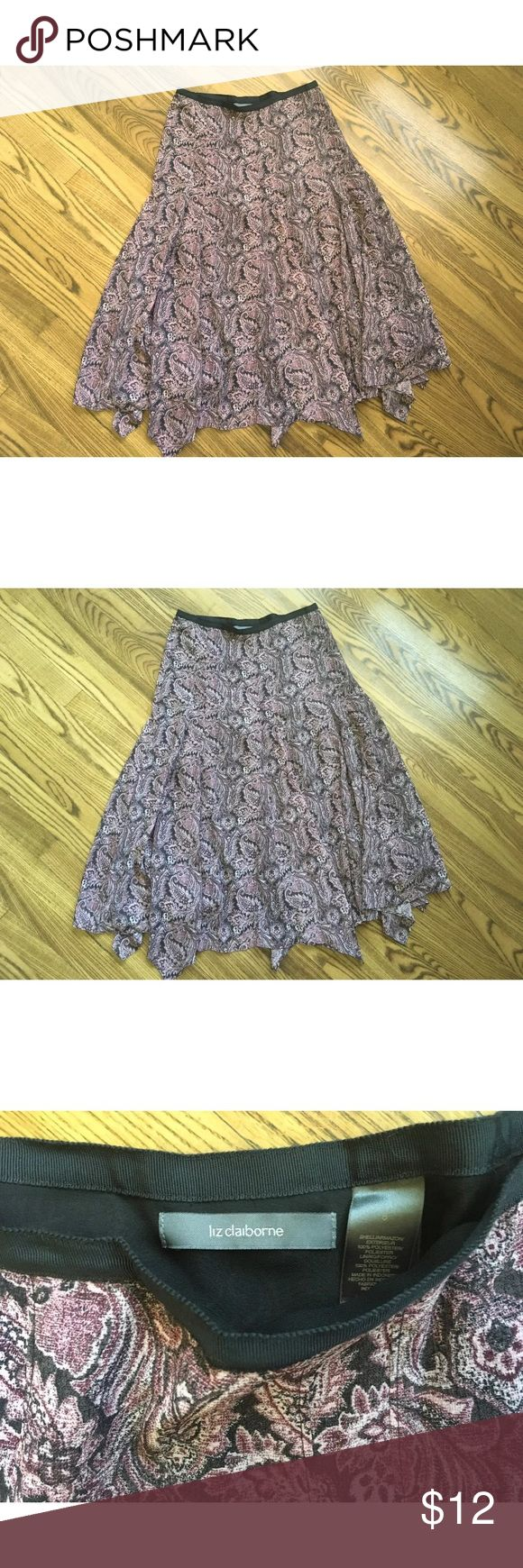 """Liz Claiborne Skirt Sz 8 MEASUREMENTS: (Measurements are in inches, laid flat, so double for all the way around when needed)  Waist: 15.75""""  Length: 30-33""""   Brand: Liz Claiborne  Size: 8 (Please check measurements above as sizes vary from brand to brand.)  Condition: excellent gently used condition  Color: pink, black  Brief Detail: handkerchief hem Liz Claiborne Skirts Asymmetrical"""
