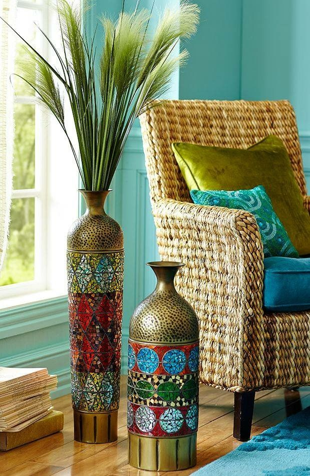 These Add The Perfect Pop Of Color And Flair To Look I M Going For Take A Closer At Handcrafted Details In Our Mosaic Collage Floor Vases
