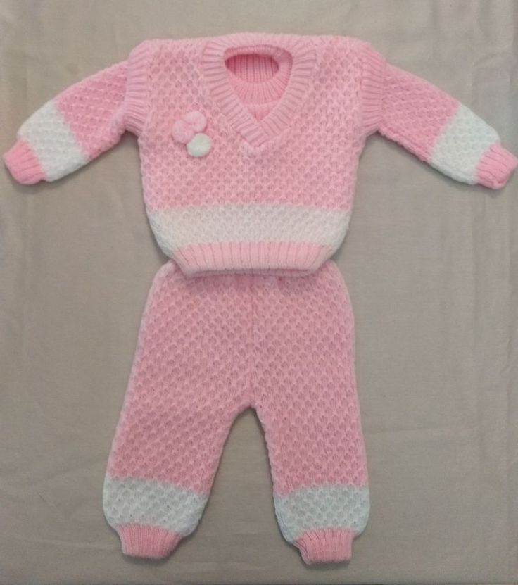 Hand knit Baby Infant Girl Romper Jumper suit vest pants sweater Outfit 3 Piece #Handmade #3pieceSweaterpantsvest #Everyday