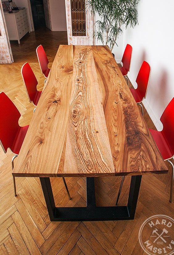 Beautiful dining table made of solid wood Chinar. Handmade. Table of three slabs of luxury wood. The base - metal. #diningtablewood