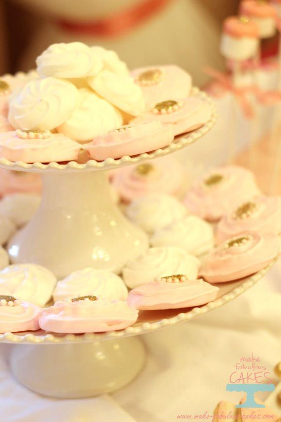 Pink and gold meringue cookies