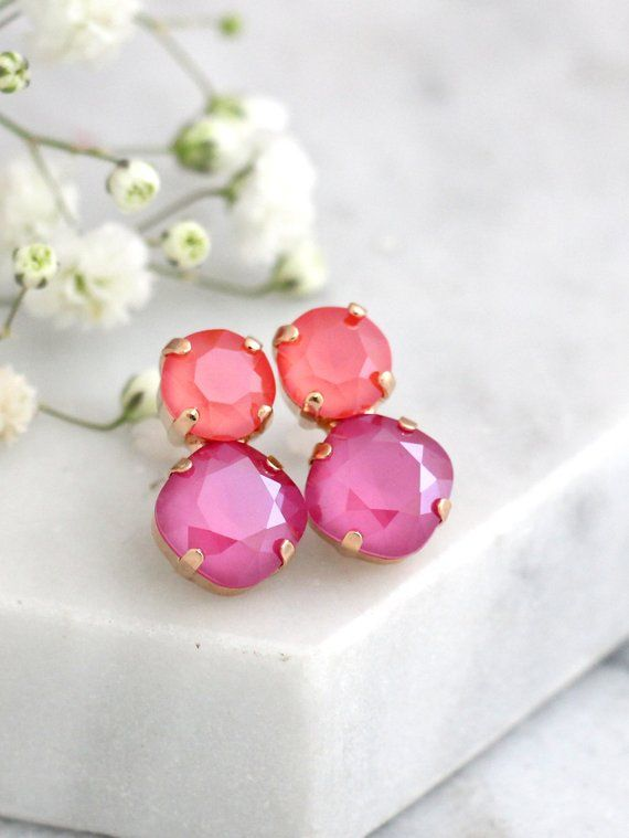 53b4a1bc6 Pink Earrings, Pink Coral Crystal Earrings, Swarovski Pink Stud Earrings,  Coral Pink Earrings Studs,