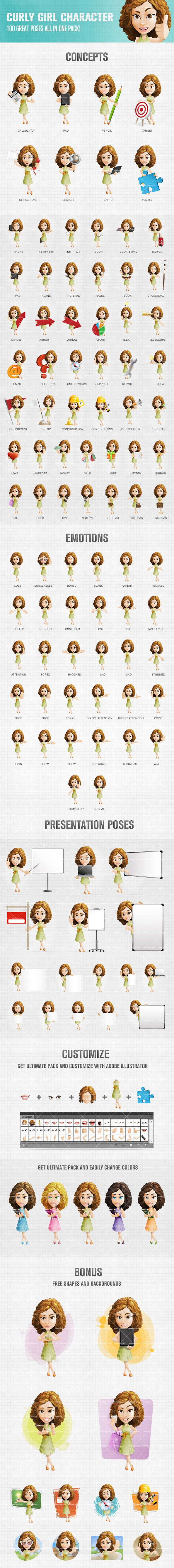 Curly girl cartoon character set created in 100 poses and moods that will fit to a wide range of purposes. Use this cartoon character to liven up your projects. Continue reading →