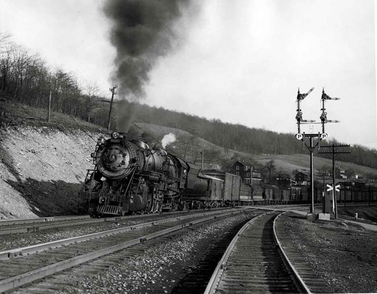 Baltimore & Ohio S-1 2-10-2 6149 descends the west side of the Allegheny Mountains at Keystone, Pa., after crossing the summit at Sand Patch on April 5, 1947.
