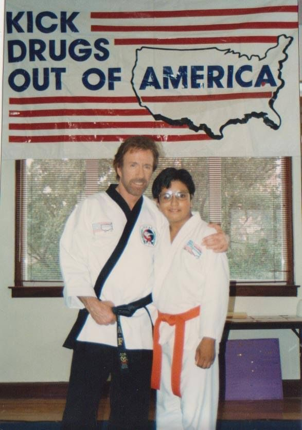 #Chuck Norris with #KickstartKids Instructor Gustavo Perez when he was a KDOOA Student.