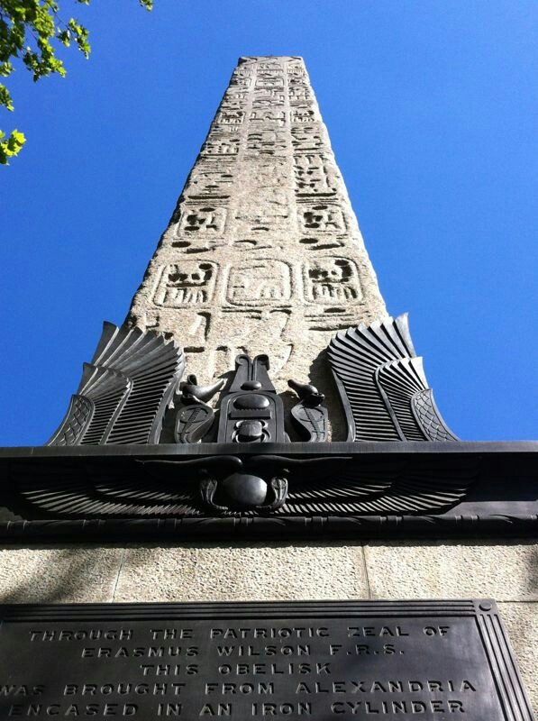 Cleopatras Needle, Victoria Embankment. 3500 year old  Obelisk erected in the 1870's to commemorate the British defeat of Napoleon.