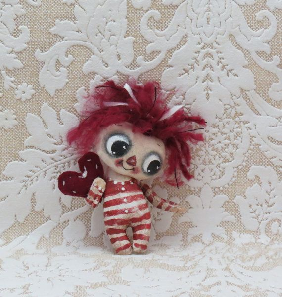 Teeny Raggedy Anne painted cloth doll by suziehayward on Etsy, $34.00 sold
