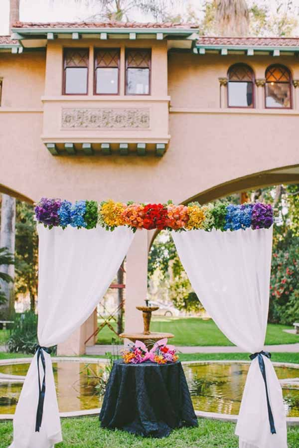 Pixies Petals - flower arch with flowers the color of the rainbow