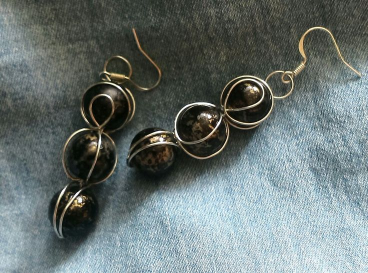 Czarno srebrne kolczyki / Black and silver earrings