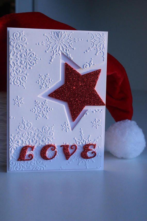 Handmade Christmas card Card with star Christmas LOVE
