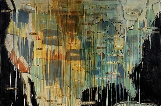 Jaune Quick-To-See Smith, 'State Names 1, 2000, oil, collage and mixed media on canvas 121.9 x 182.9 cm