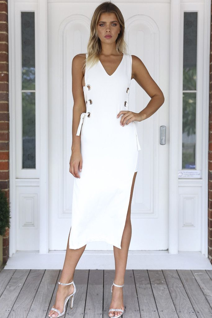 Xenia Boutique - Lace Me Up Maxi Dress (White)