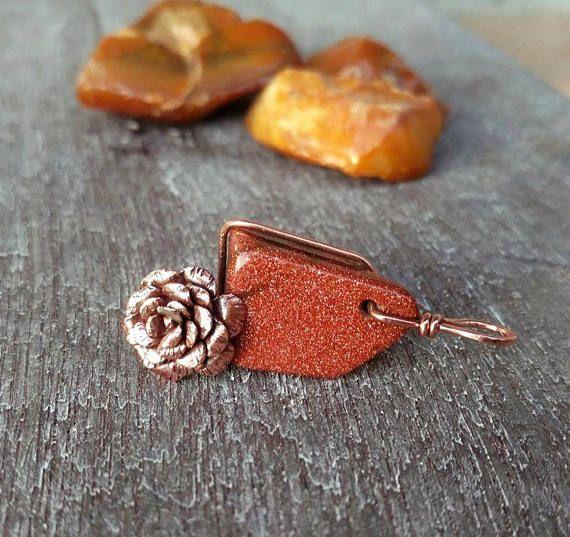 Copper rose necklace goldstone necklace goldstone pendant