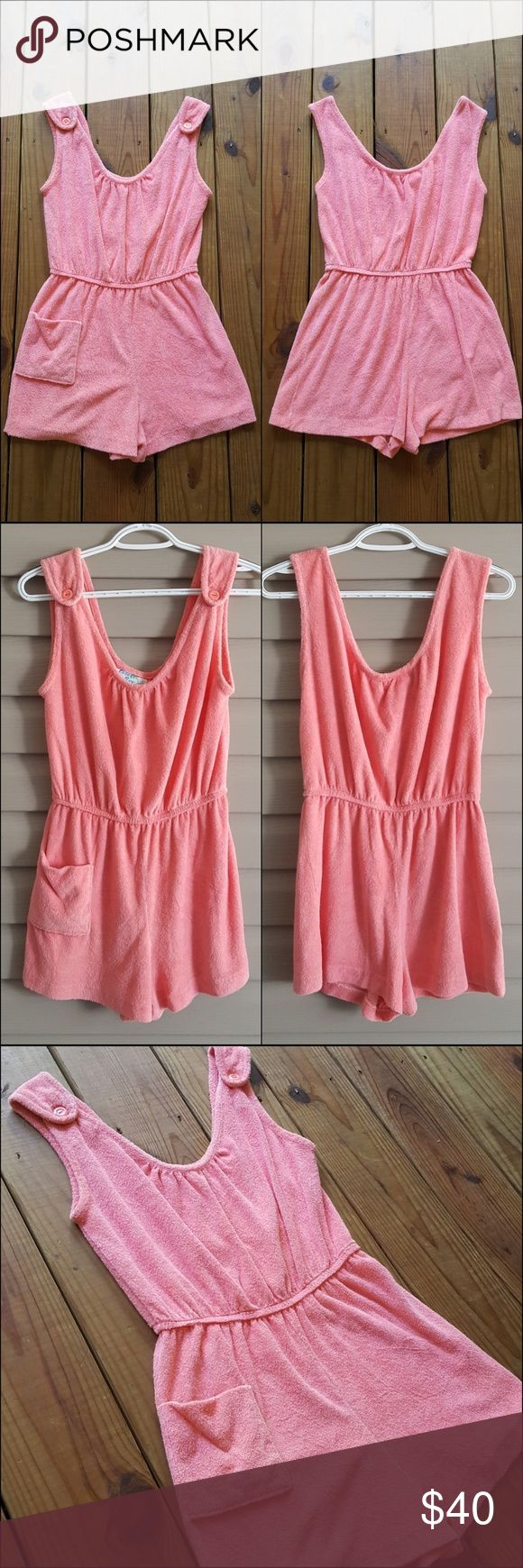 Vintage 70's 80's coral terrycloth button romper Vintage 70's 80's Coco Bay coral romper!! Soft and comfy terry cloth material. Straps button at the shoulders. Scoop neck and back. Elastic waist. One front pocket. Easy to slip on and go. Has been washed. Great condition!! I may have a hard time letting this one go but it's up for sale.. for now. It's a little loose on a XS so may be best for a Small or  maybe a smaller Medium. See measurements below.  Happy to answer any questions :) Coco…