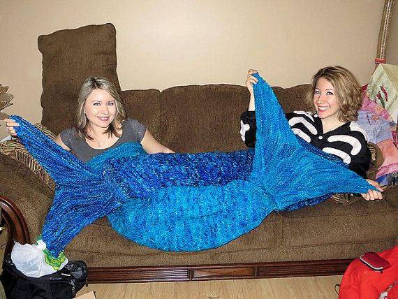Adult Mermaid Tail Lapghan Cocoon or Blanket Knitting by 4aSong