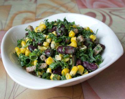 Салат с скурицей красной фасолью