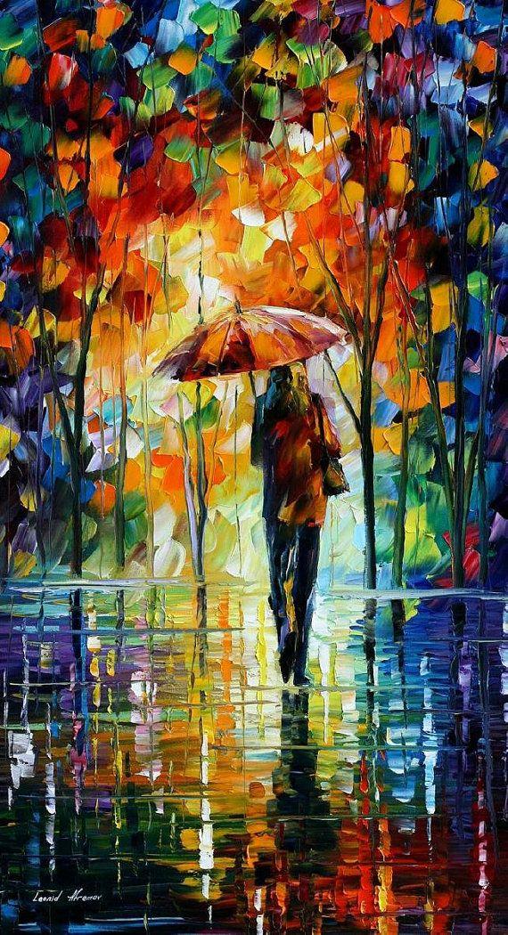 "Amor: Mujer espátula bajo paraguas figura pintura al óleo sobre lienzo de Leonid Afremov. Tamaño: 20 ""X 36"" pulgadas (50 cm x 90 cm)"