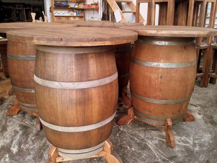 Wine barrel bar leaner room conservatory bar for How to make a wine barrel bar
