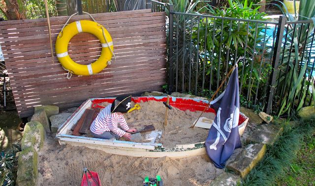 Even if you don't live close to the sea, this pirate sandbox will remind you of all things nautical. Forget the cheapy plastic sandbox turtles… (although we must admit, some great childhood memories were created there) now you can dig for treasure!