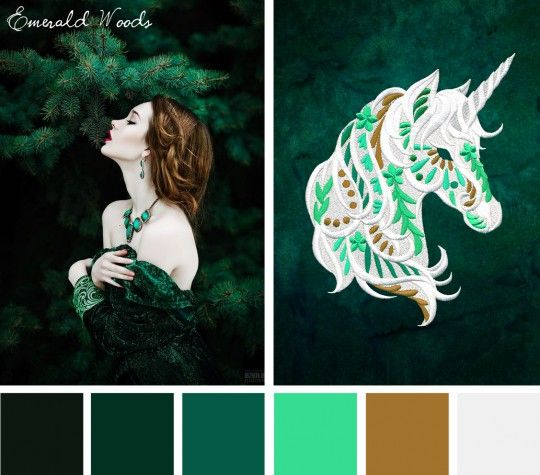 Find inspiration from St. Patrick's Day with the deep rich tones of the forest in this Emerald Woods color inspiration.