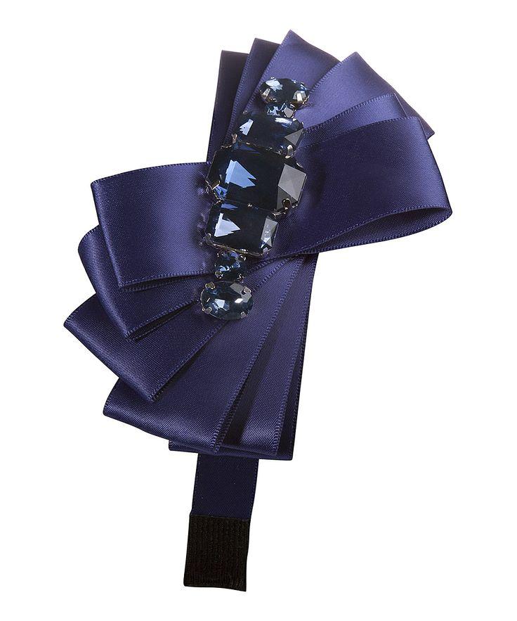 Navy Rhinestone Bow Headband   zulily