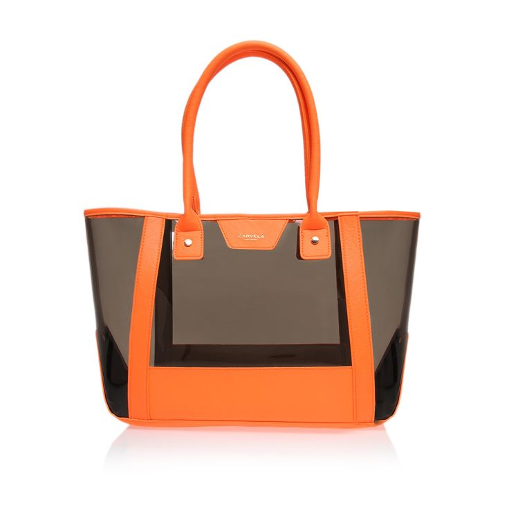 freya perspex shopper, orange bag by carvela kurt geiger - women