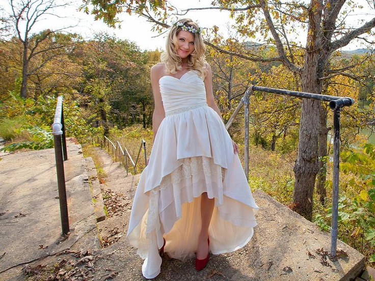 THE MULLET OF WEDDING DRESSES - love that she wears bright red shoes with this dress.