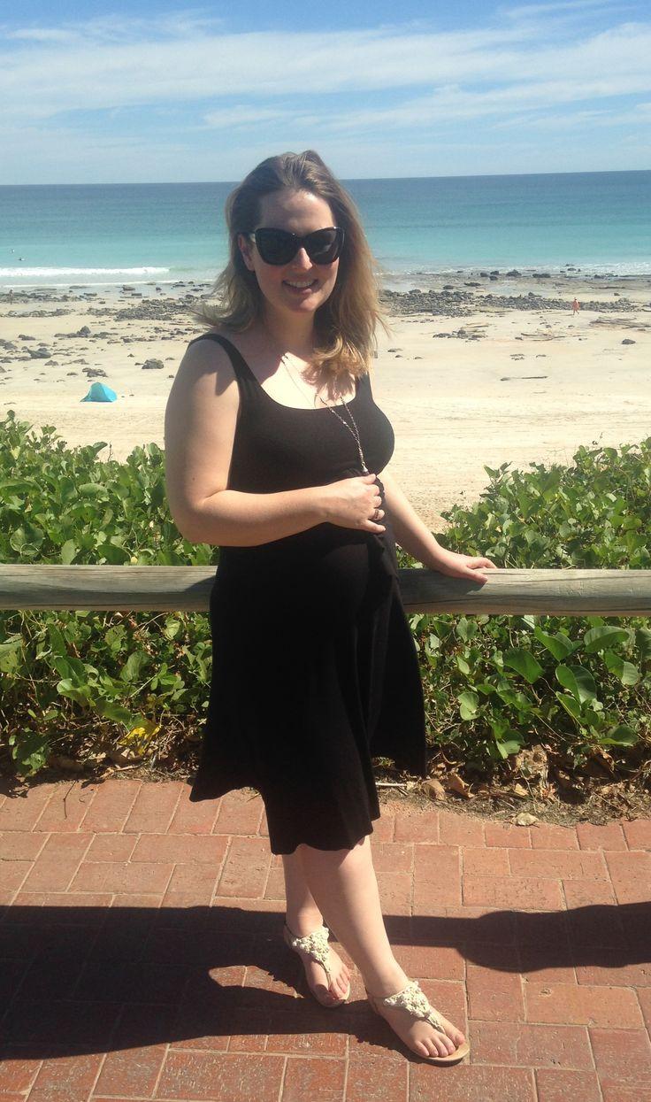 Three Dots black dress, Lanvin Blanch Collection pearl detail sandals, Sophie Kyron necklace, L'Wren Scott sunglasses on http://www.bargainsandbeautiful.com/broome-vacay/ #threedots #lanvin #sophiekyron #lwrenscott