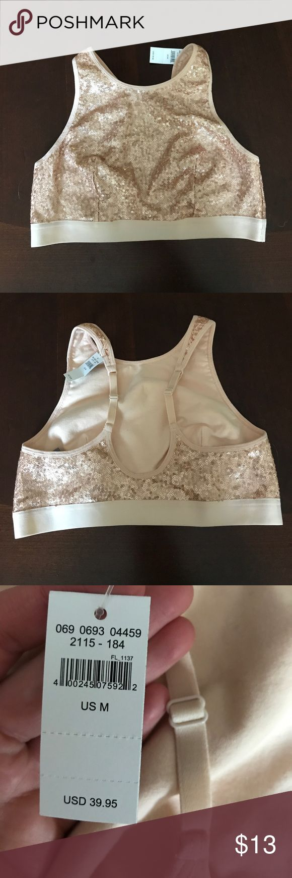 Sports bra Light pink with rose gold sequins all over. Elastic waste band around bottom, with a tank top style straps that are adjustable! Would also be really cute worn as a crop top! aerie Intimates & Sleepwear Bras