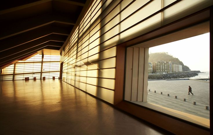 Kursaal San Sebastian (Rafael Moneo, 1990-1999). Main Auditorium building looking outside through one of the big windows.  Façades Confidential: A quest for thick glazed façades