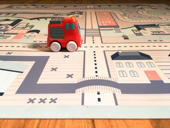 Cars Play Mat, Rug for kids, Cars and Roads Play Game, Pretend Play City