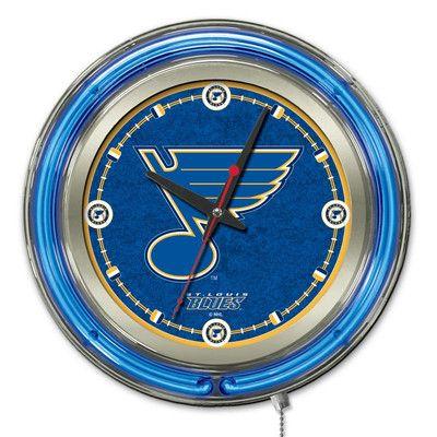 "Holland Bar Stool NHL 15"" Double Neon Ring Logo Wall Clock NHL Team: St. Louis Blues"