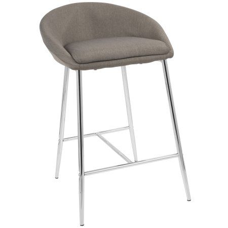 Matisse Glam 26 Inch Counter Stool With Chrome Frame And Grey