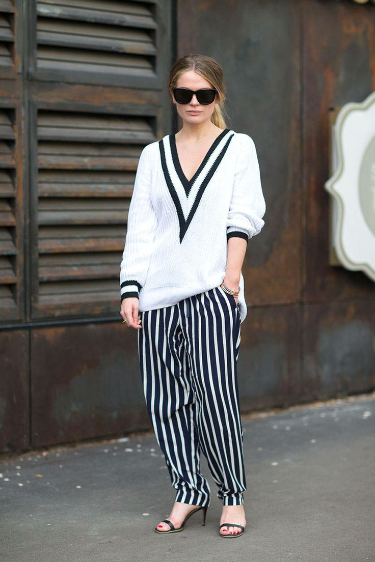 Rocking the must have Rag & Bone sweater with contrasting striped trousers. #AustraliaFashionWeek