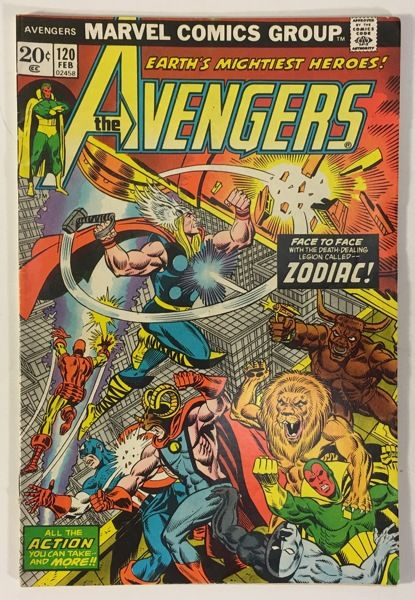 The Avengers #120 VG+ 20¢ Marvel Comics - Zodiac App. - Bronze Age 1974