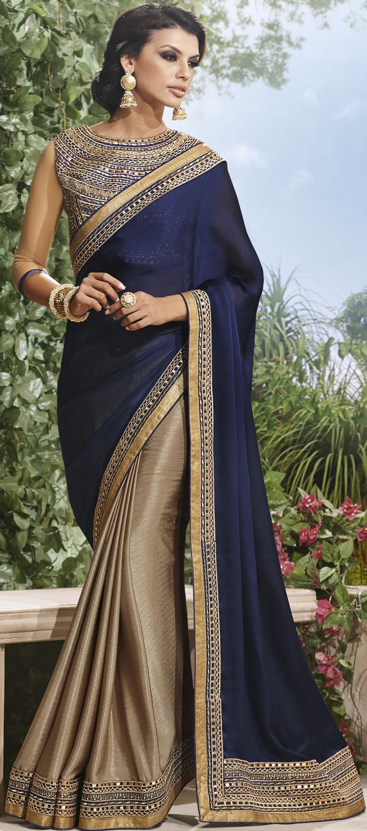 154792: Blue, Beige and Brown color family Saree with matching unstitched blouse.