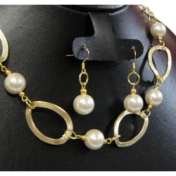 Juego de Collar y Aretes con Perlas y Cadena de Aluminio