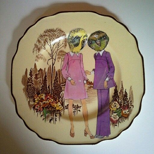 Terry Angelos - Tea for two?, Vintage plate and Collage