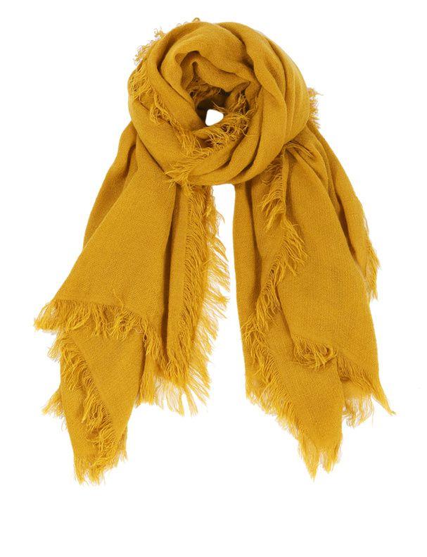 Echarpe jaune moutarde   Aqualogia 7b34e3e8985