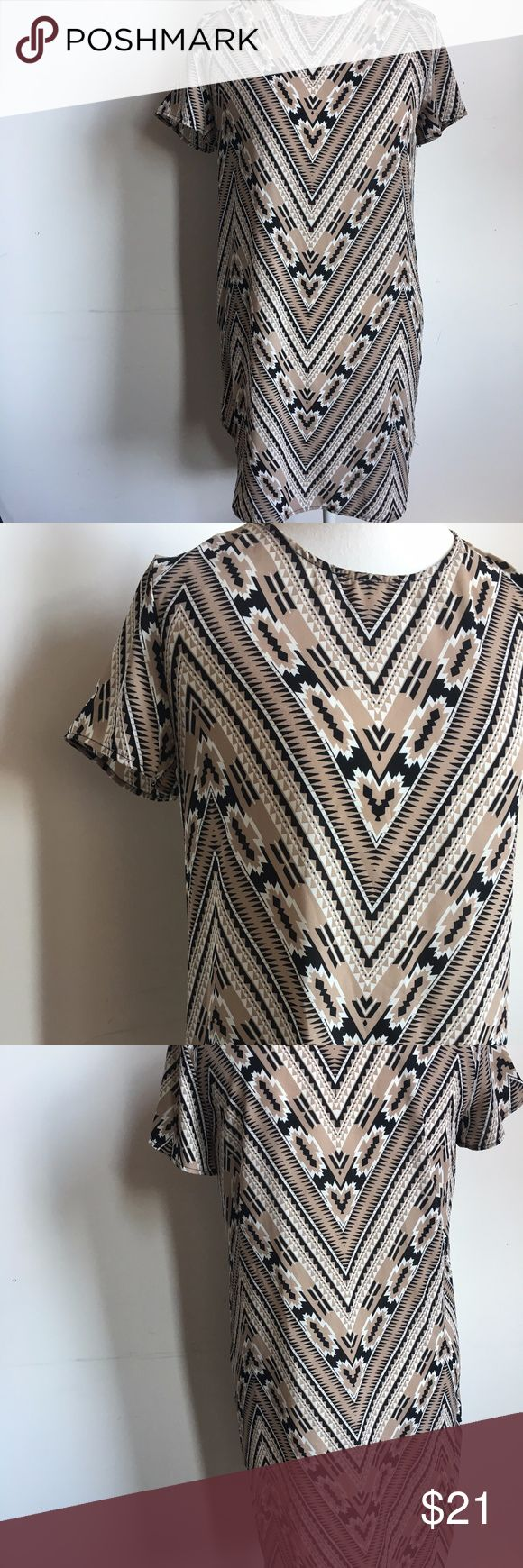 """Nordstrom WAYF Shift Dress in Tribal Print Nordstrom WAYF Crepe Print Shift Dress size. Small-runs small and too short for this 5'11"""" girl. Have to wear as a tunic but can't get it over my hips!:) Better for XS or S Petite EUC. Like New  Brown, Black, Creme, White, Tan Tirbal, Aztec, Geometric Print Great with leggings and layer under long duster, cardigan or black or white blazer for work or casual! Moving-must go! Bundle with another item(s) for discount and/or free shipping! Thanks! Wayf…"""