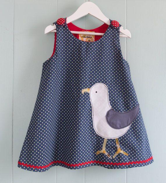 Girls pinafore dress seagull applique spotty fabric by LittleBinks, £20.00
