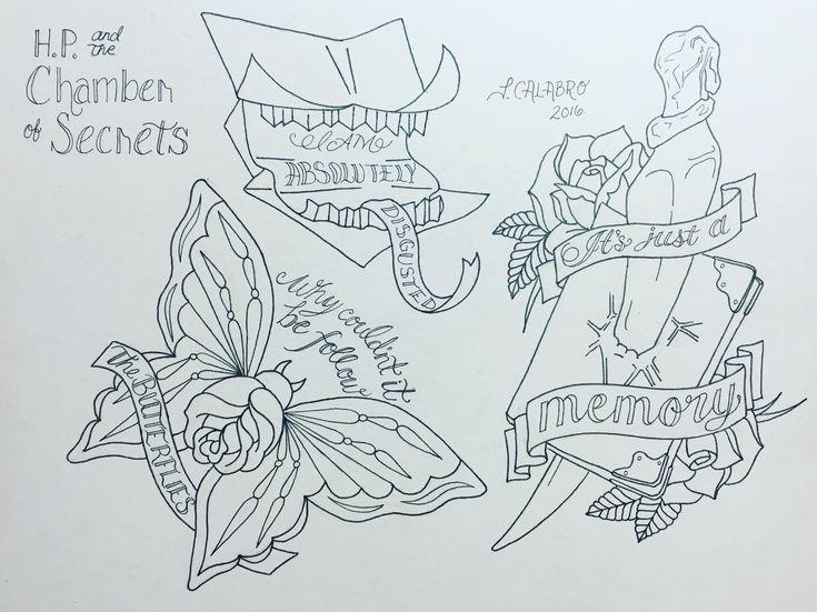 Harry Potter Tätowierung. Kammer der Geheimnisse Tattoo. Folge den Spinnen. Howler Tätowierung. Tom rätselt Tagebuch Tattoo. Schmetterling Tattoo.