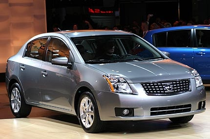 Got a Nissan Sentra as a rental while driving out from SFO to Pleasanton.  It was a peppy little car that was actually fun to drive.  I felt bad too because it was practically brand new and some guy in front of me kicked up a pebble that left a massive stone chip on the windshield.  Yikes...