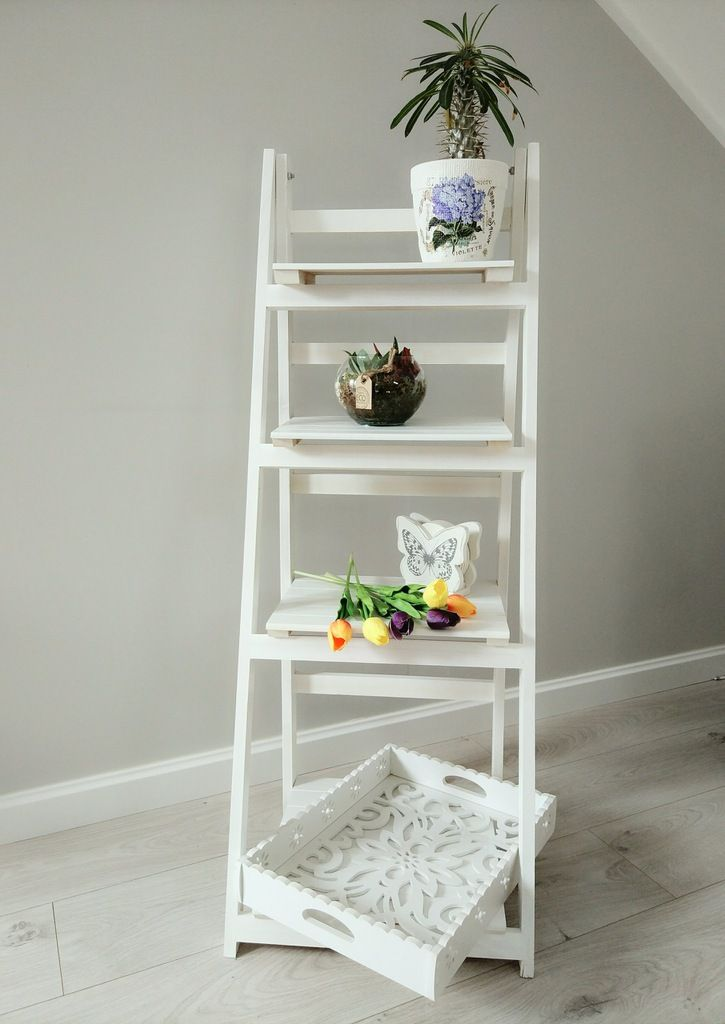 Drabinka Regal Stojak Drewniany Kwietnik Bialy 7551100515 Allegro Pl Home Decor Decor Ladder Bookcase