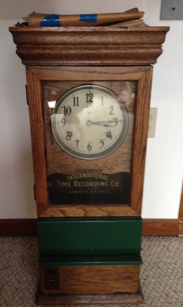 (Rare, circa 1900 Oak wall time recording clock manufactured by International Time Recording Co., Endicott, NY; Model 307, Serial No. 49051). Latest patent date on this unit is from 1908. This all-original recording clock (originally owned by City Of Syracuse, NY, Bureau of Water) has a nice, good condition oak case with nice patina. | eBay!