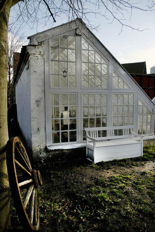 - Beautiful white greenhouses with lush green plants, leaves and leafy florals   Dream garden   Gardening inspiration   Greenhouse and conservatory ideas   By jewellery label AU REVOIR LES FILLES   Shop at www.aurevoirlesfilles.com