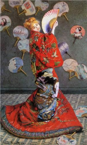 """Camille Monet in Japanese Costume"" - Claude Monet.  The model for this painting was Camille, Monet's 1st wife. She wore a Kimono and a blonde wig, and the new influence of Japanese art & culture on french artists & their art is apparent."