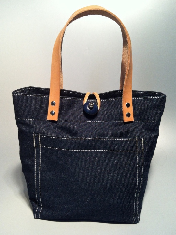 Raw Denim Tote • vintage beach stripe interior handmade in USA by Green Garage Studio