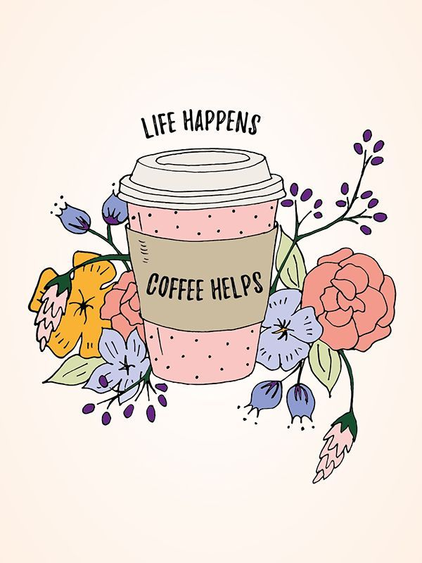 Life happens. Coffee helps. Love this free printable wall art!